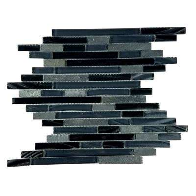 New Era II Black Hole Linear 12 in. x 12 in x 7.94 mm Glass and Stone Mosaic Tile
