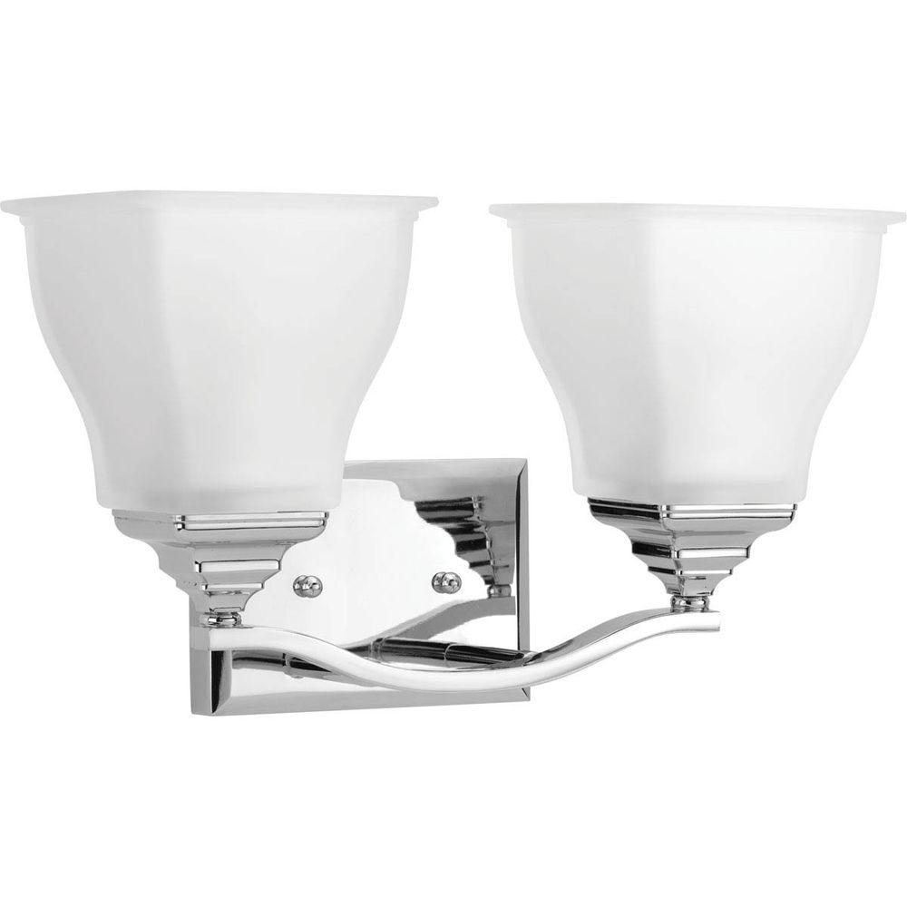 Callison Collection 2-Light Polished Chrome Vanity Light with Square Etched