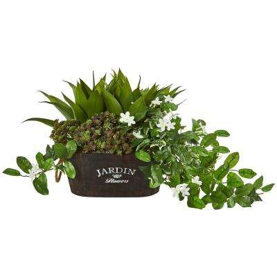 Indoor 16 in. Mixed Succulents, Stephanotis and Ivy Artificial Plant