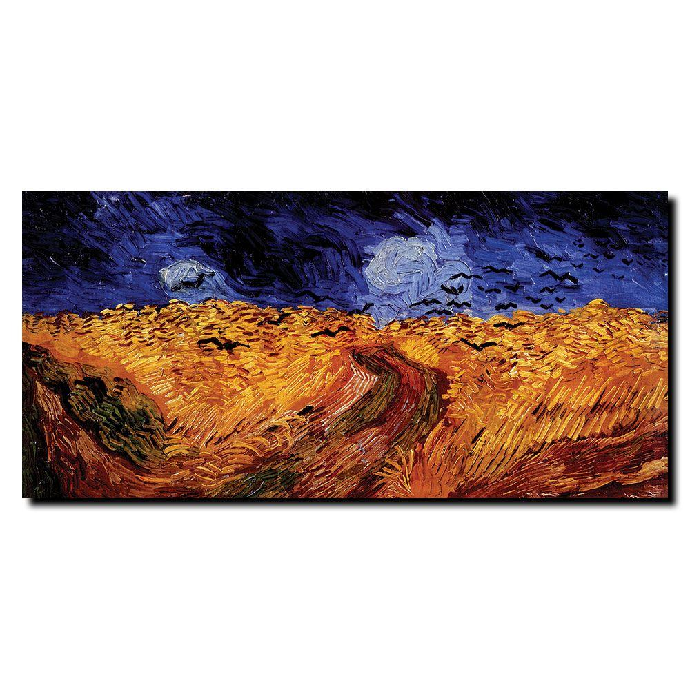 12 in. x 24 in. Wheatfield with Crows Canvas Art