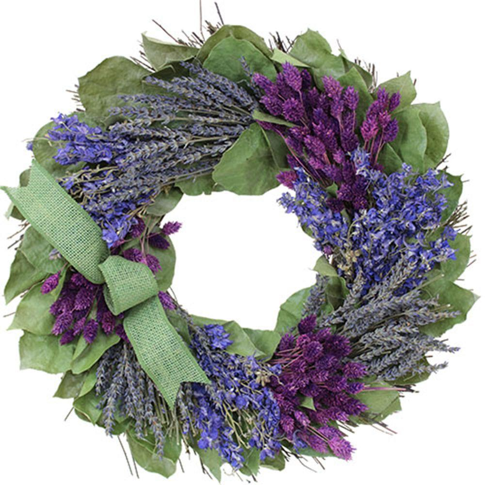 The Christmas Tree Company Lavender and Larkspur 16 in. Dried Floral Wreath