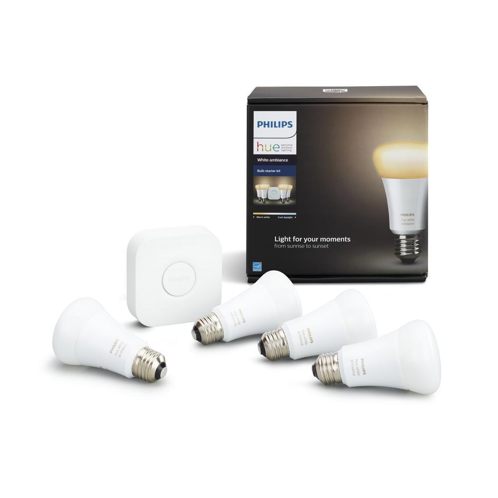 Philips Hue White Ambiance 60-Watt Equivalent A19 Smart LED Light Bulb Starter... by Philips