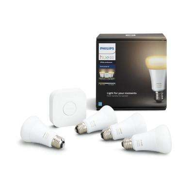 Hue White Ambiance 60-Watt Equivalent A19 Smart LED Light Bulb Starter Kit (4-Pack)