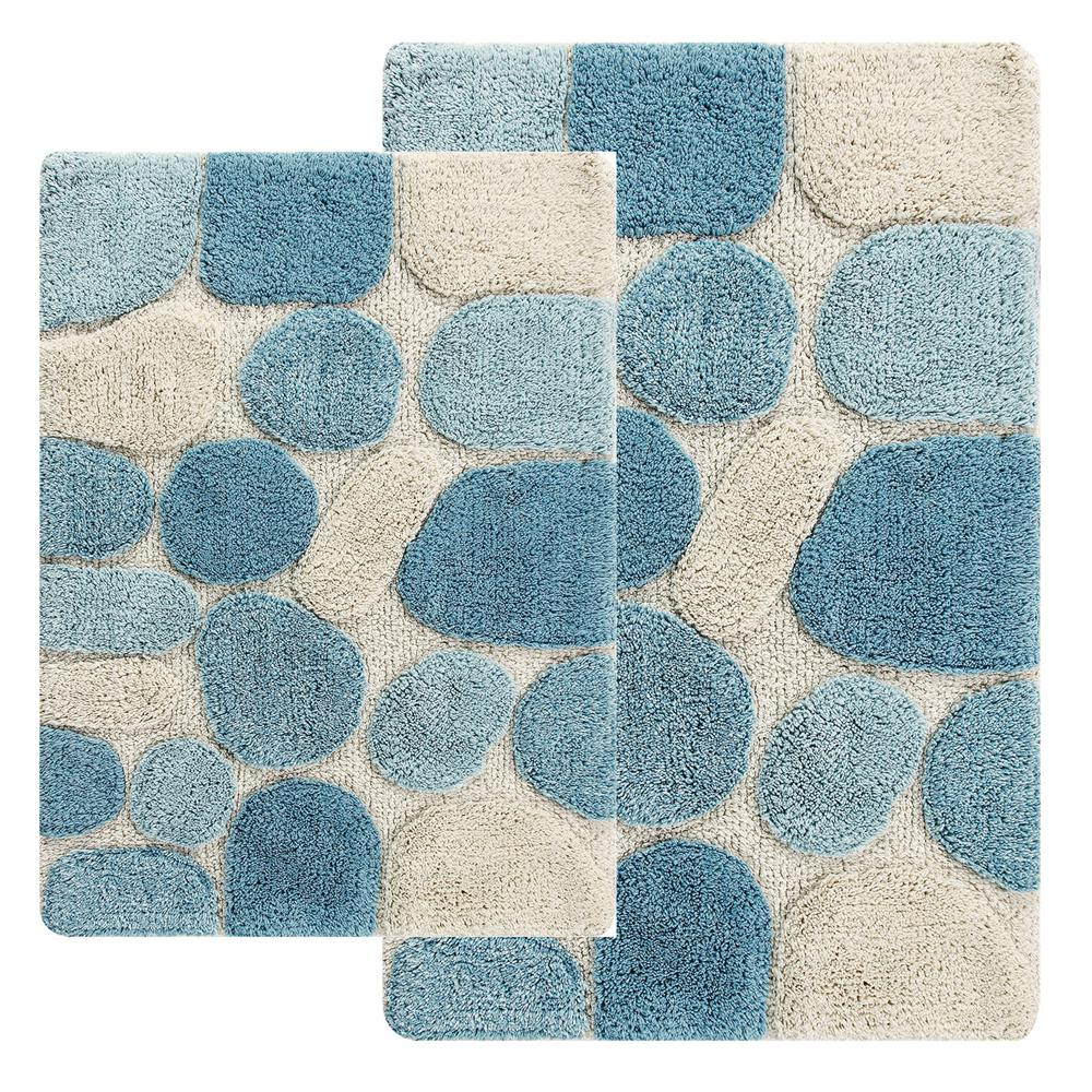 Chesapeake Merchandising Pebbles 24 in. x 40 in. 2-Piece Bath Rug ...