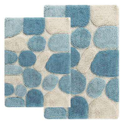 21 in. x 34 in. and 24 in. x 40 in. 2-Piece Pebbles Bath Rug Set in Aquamarine