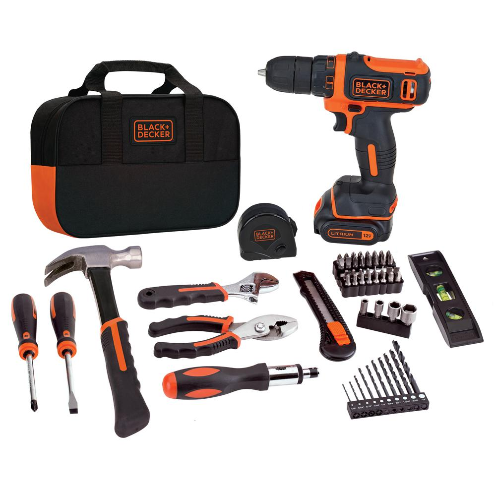 BLACK+DECKER 12-Volt MAX Lithium-Ion Cordless Project Kit (57-Piece) with Battery 1.5Ah, Charger and Tool Bag
