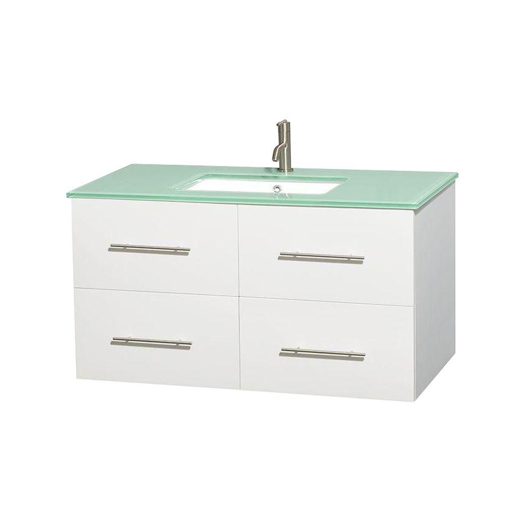 Wyndham Collection Centra 42 in. Vanity in White with Glass Vanity Top in Green and Undermount Square Sink