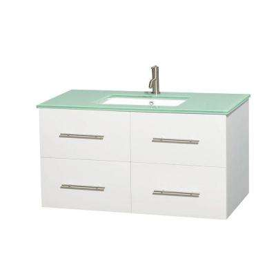 Centra 42 in. Vanity in White with Glass Vanity Top in Green and Undermount Square Sink