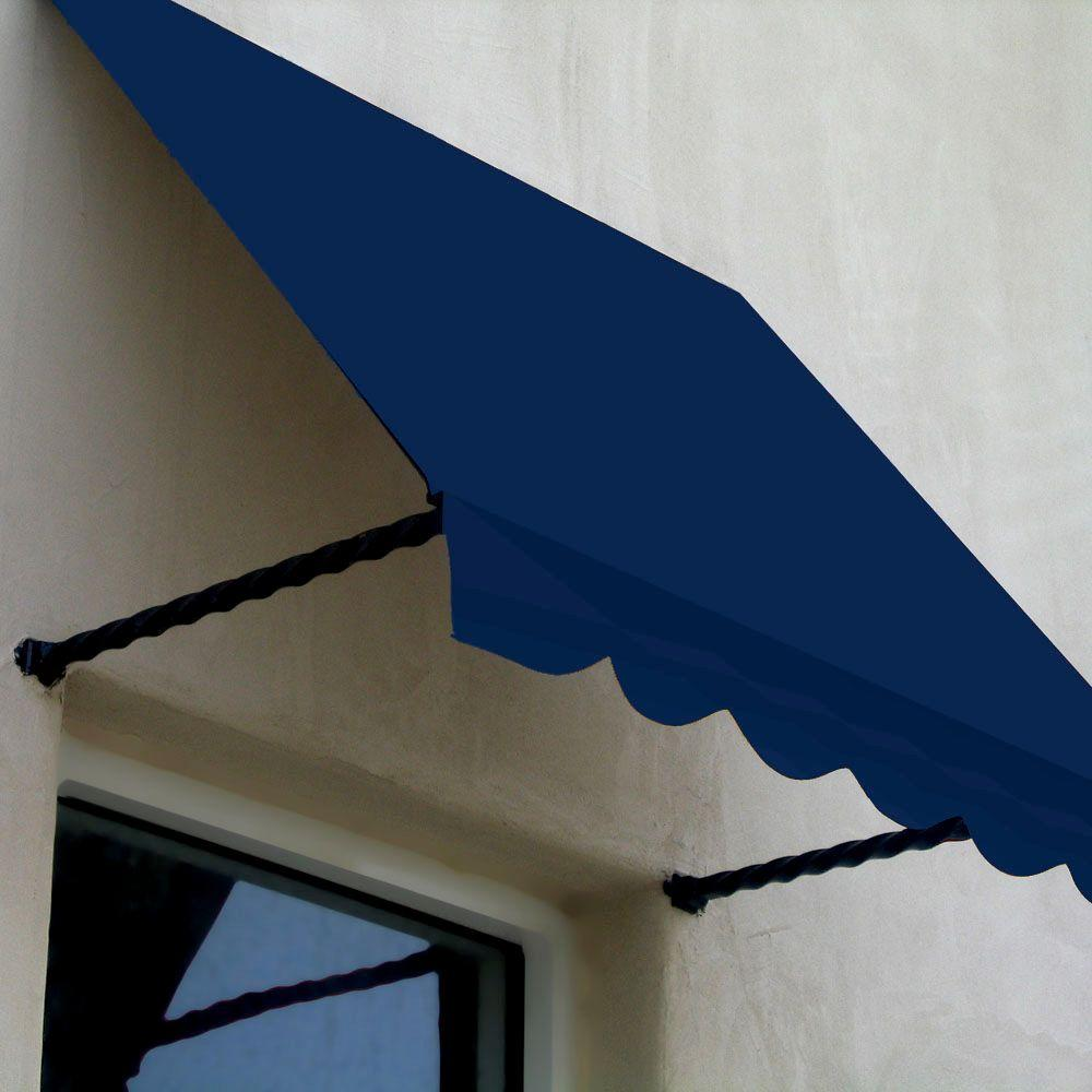 AWNTECH 10 ft. Santa Fe Twisted Rope Arm Window Awning (24 in. H x 12 in. D) in Navy