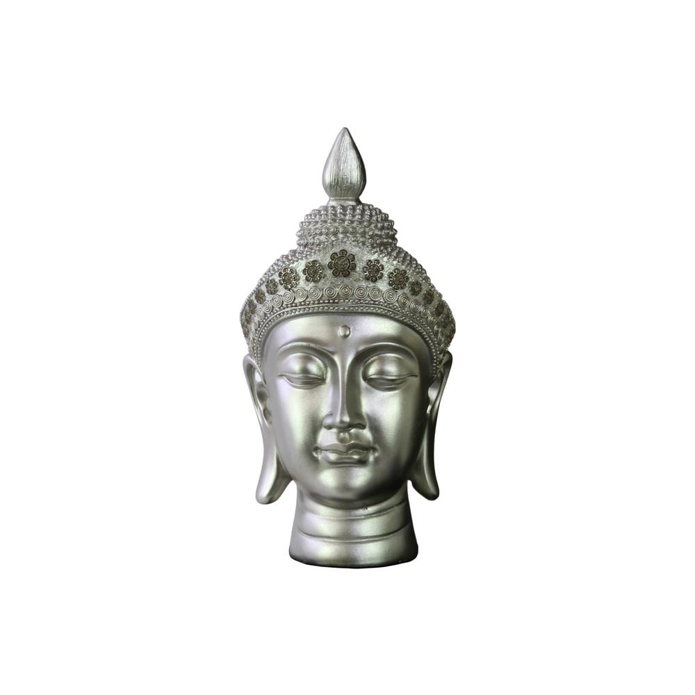 10.5 in. H Buddha Decorative Sculpture in Gray Gloss Finish