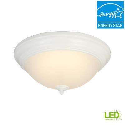 13 in. 180-Watt Equivalent White Integrated LED Flushmount with Frosted Glass Shade