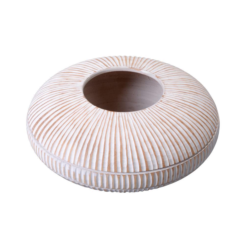 Villacera 4 in. x 10 in. White Handmade Short Flat Mango Wood Decorative Vase was $28.4 now $15.14 (47.0% off)