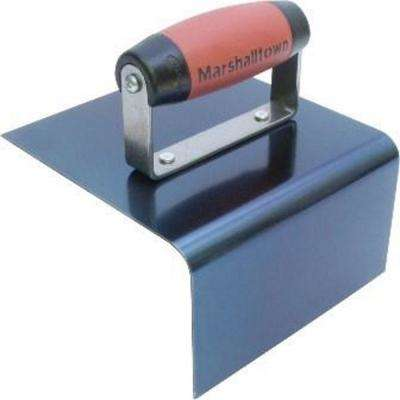 6 in. x 4 in. Blue Steel Outside Step finishing Trowel with DuraSoft Handle