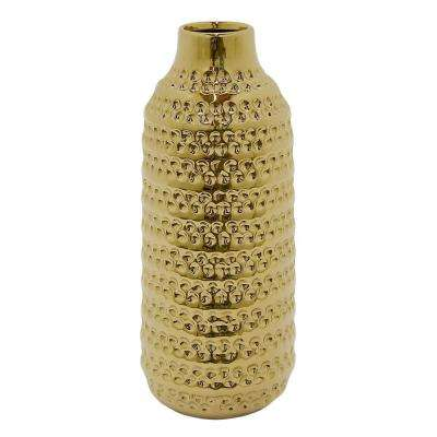 15.25 in. Gold Ceramic Textured Decorative Vase