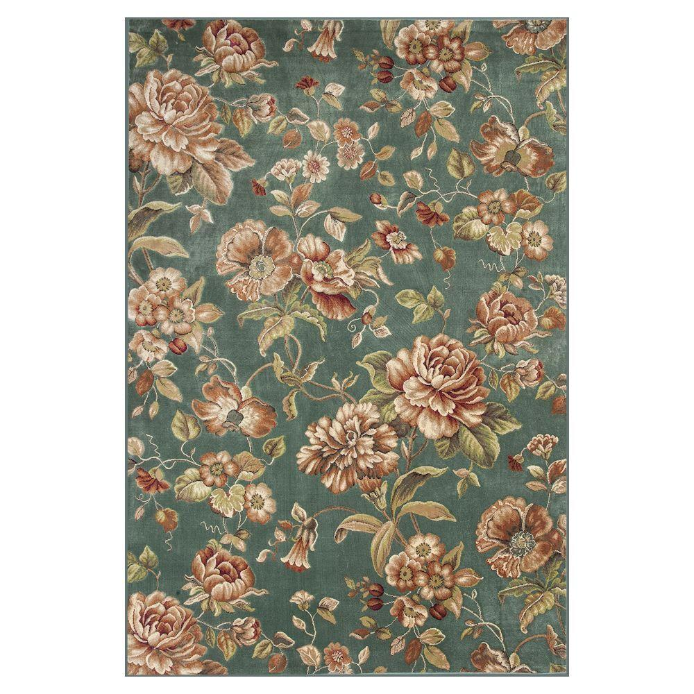 Kas Rugs Cherish the Flower Green/Ivory 7 ft. 10 in. x 11 ft. 2 in. Area Rug
