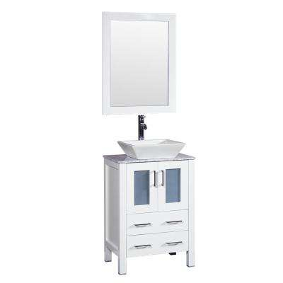 24 in. W Single Bath Vanity in White with Carrara Marble Vanity Top with White Basin and Mirror
