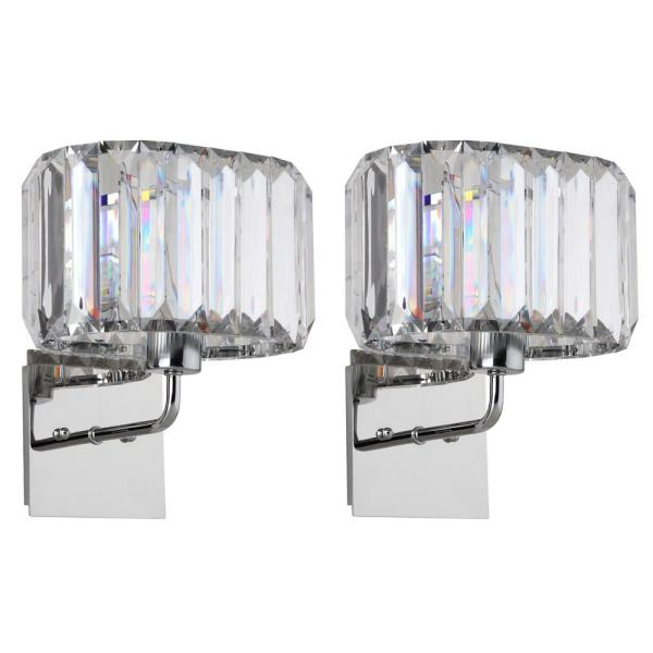 Athena Chrome 4 in. 1-Light Nickel/Clear Acrylic Wall Sconce (Set of 2)