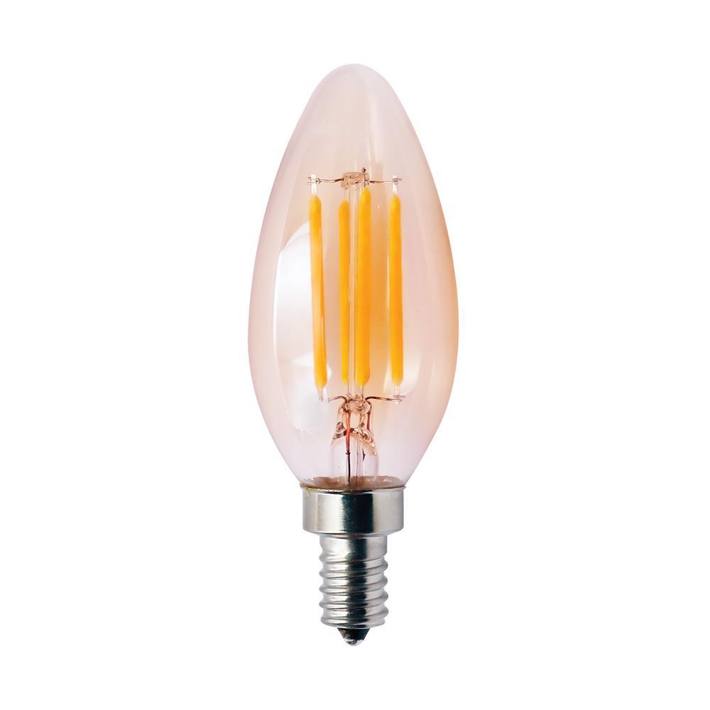 40-Watt Equivalent 4-Watt B11 Dimmable LED Amber Filament Antique Vintage Chandelier Light Bulb 2000K 85056