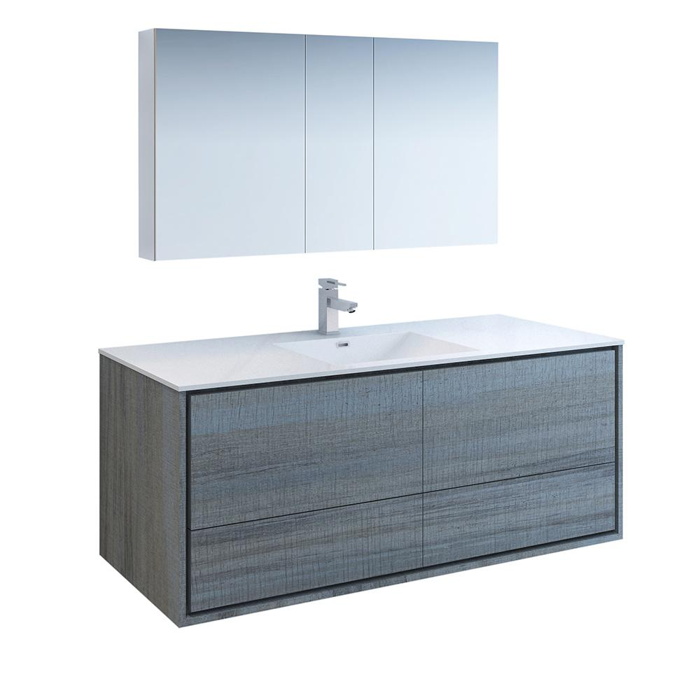 Fresca Catania 60 In Modern Wall Hung Vanity In Ocean Gray With