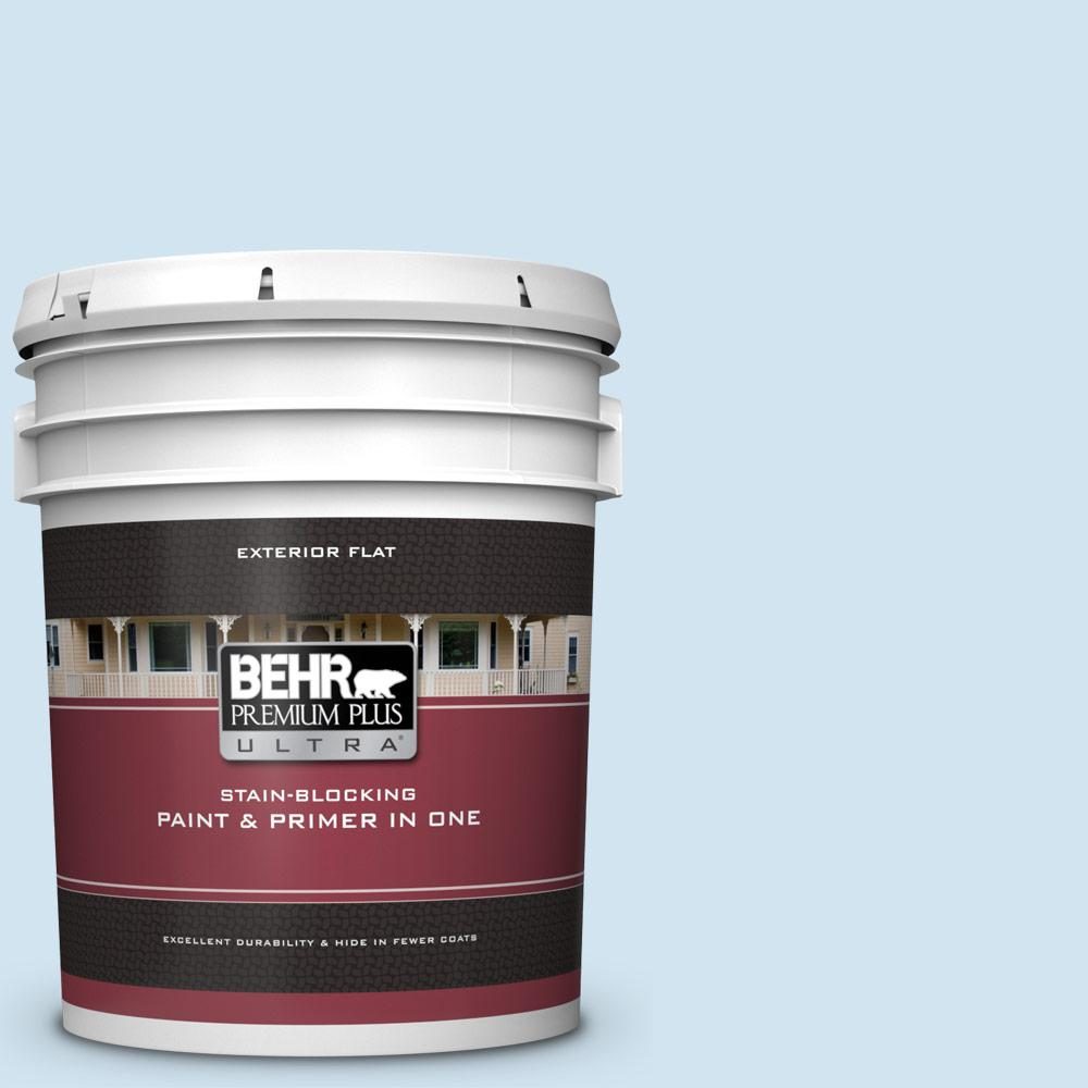 Behr Premium Plus Ultra 5 Gal 570c 2 Mystic Harbor Flat Exterior Paint And Primer In One 485005 The Home Depot