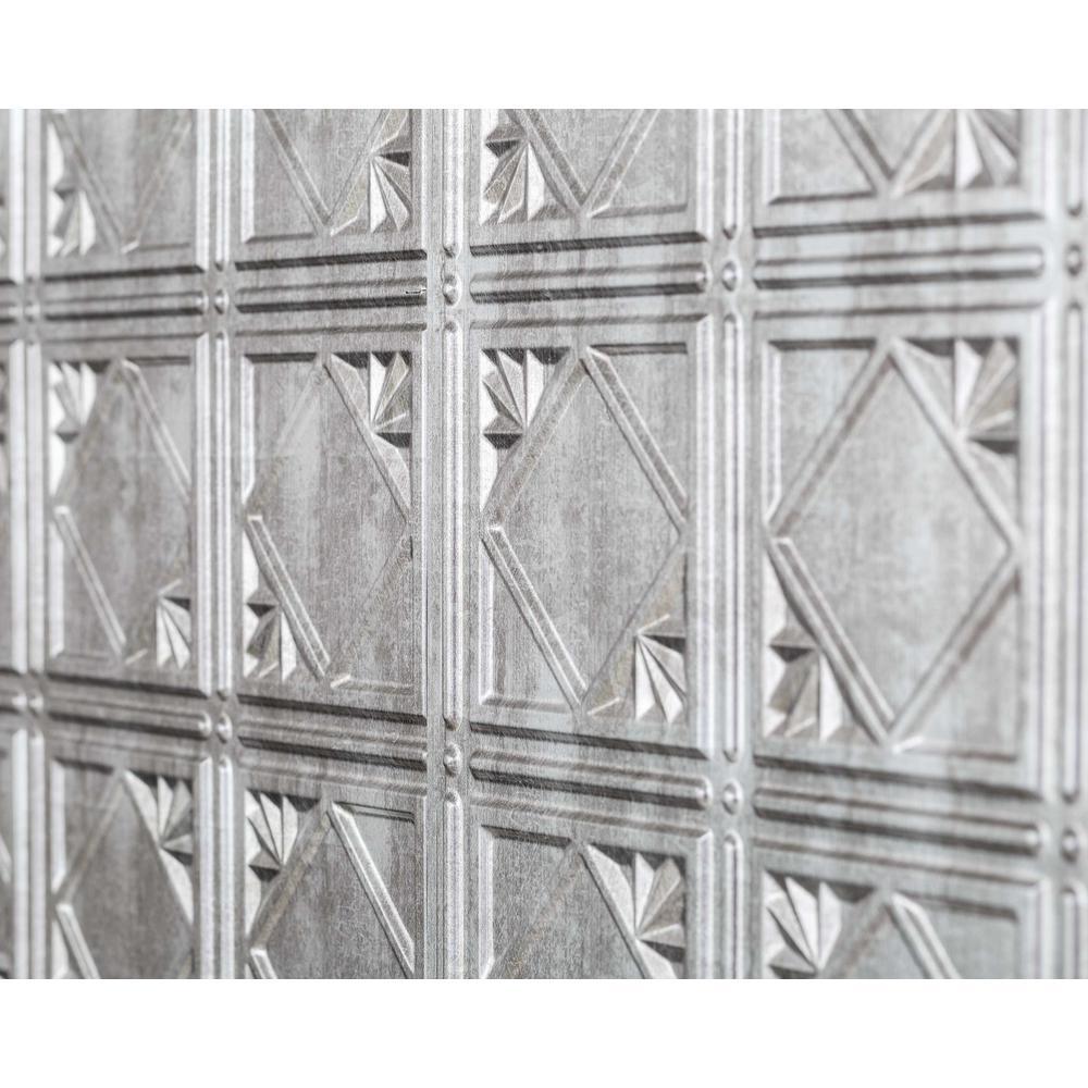 Artnouvo 18.5 in. x 24.3 in. PVC Backsplash Panel in Crosshatch Silver (9-Piece)