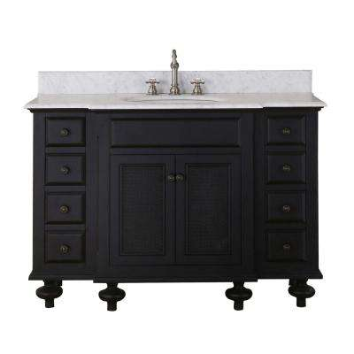 London 48 in. Vanity in Dark Espresso with Marble Vanity Top in Carrara White with White Basin