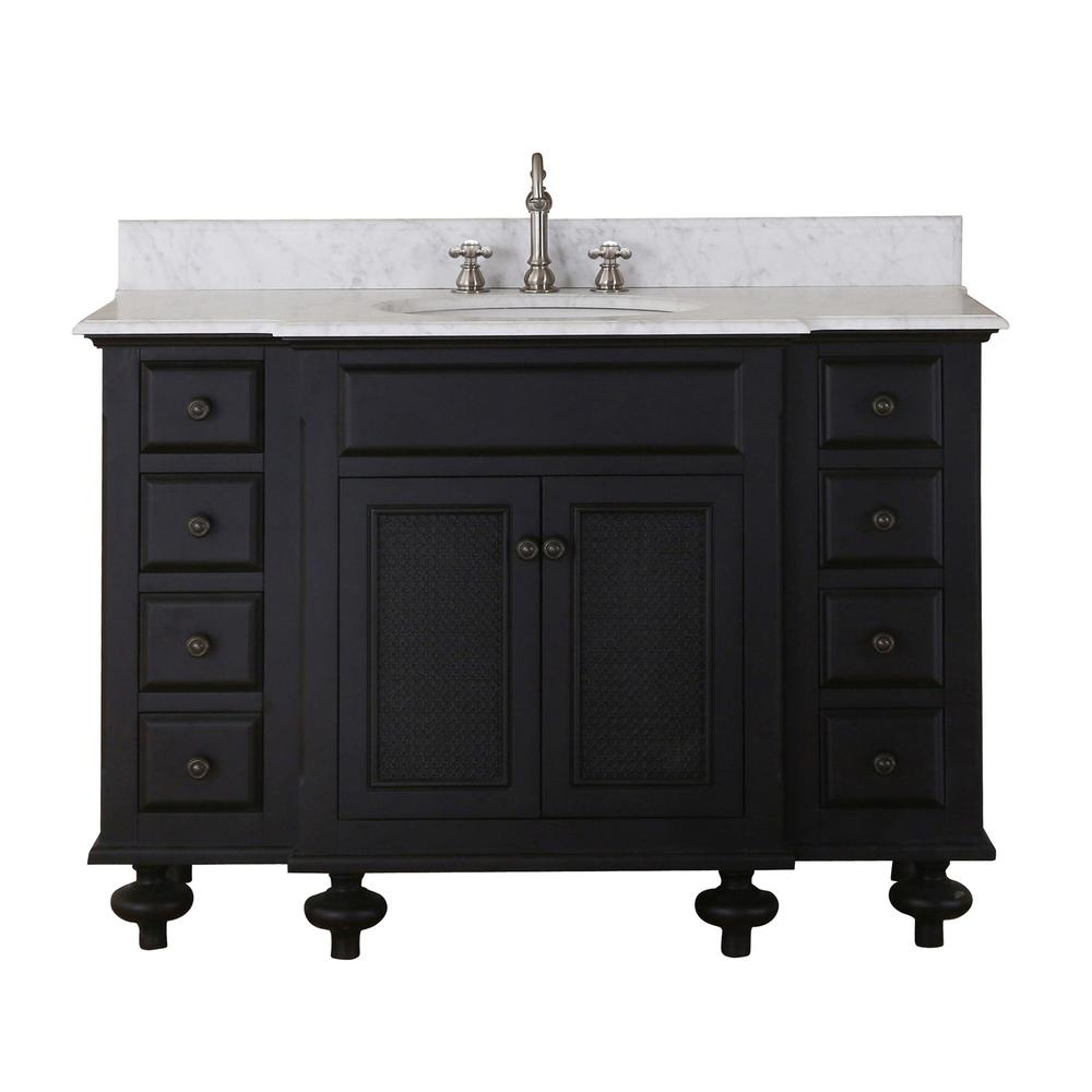 Water Creation London 48 in. Vanity in Dark Espresso with Marble Vanity Top in Carrara White with White Basin