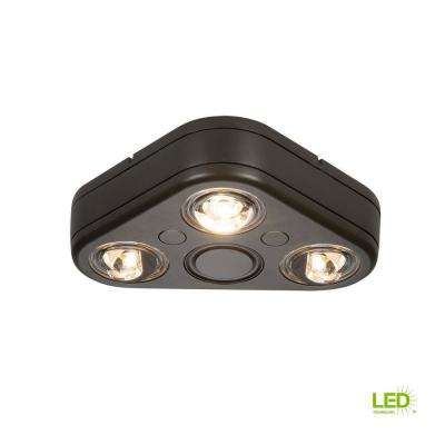 Revolve Bronze Triple Head Outdoor Integrated LED Security Flood Light at 3500K Bright White, Switch Controlled