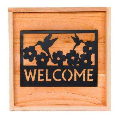 18 in. x 18 in. Wood Wall Art with Welcome Sign