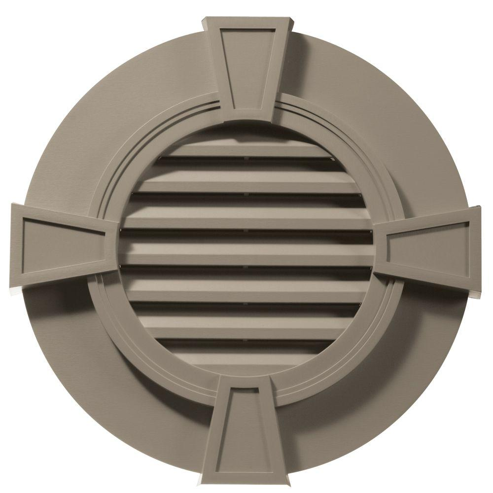 30 in. Round Gable Vent in Clay with Keystones