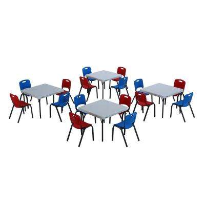 20-Piece Red, White, and Blue Children's Table and Chair Set