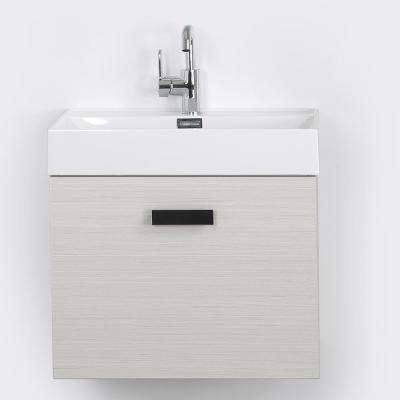 23.6 in. W x 18.1 in. H Bath Vanity in Gray with Resin Vanity Top in White with White Basin