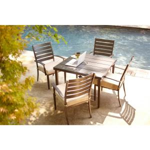 Marshall 5-Piece Patio Dining Set with Textured Silver Pebble Cushions