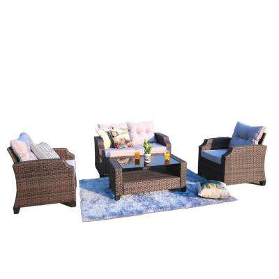 Charlotte 3-Piece Steel Wicker Patio Conversation Set with Grey Cushions