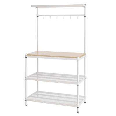 MeshWorks 4-Shelf Metal White Freestanding Utility Unit