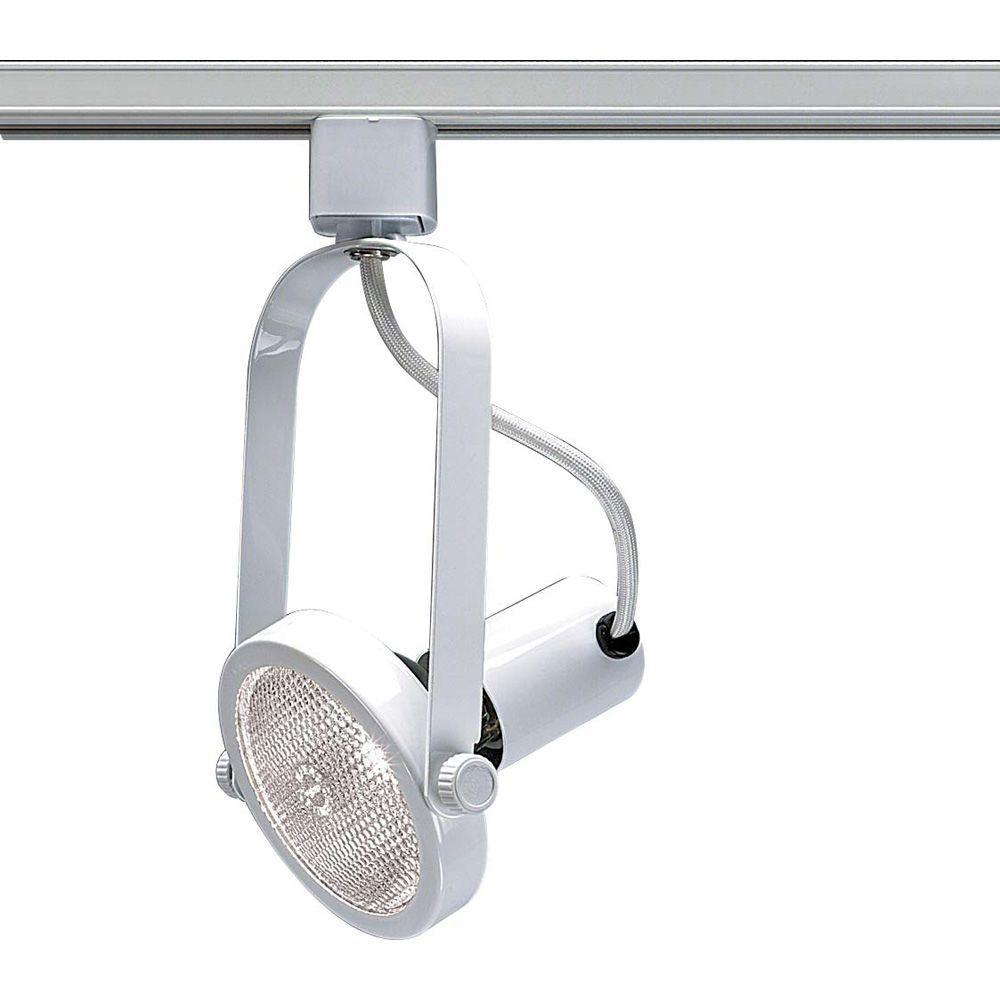 Glomar 1-Light PAR30 White Gimbal Ring Track Lighting Head