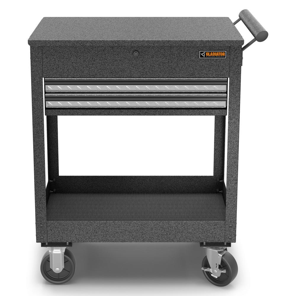 27 in. 2-Drawer Steel Utility Cart Granite