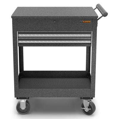 27 in. 2-Drawer Steel Utility Cart Granite