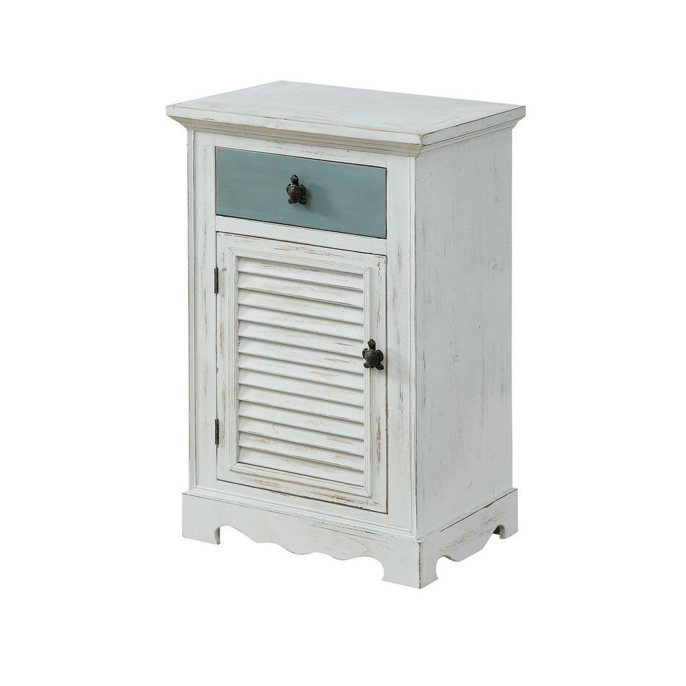 Marina White Rub 1-Door 1-Drawer Cabinet