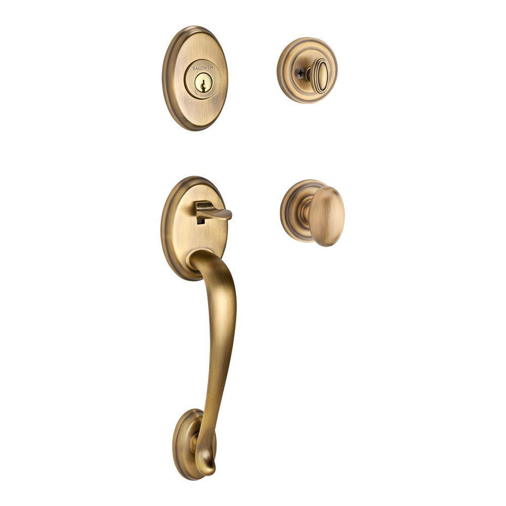 Columbus Matte Brass and Black Entry Handle Set