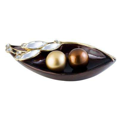 Brown Laurel Topaz Polyresin Decorative Bowl With Spheres