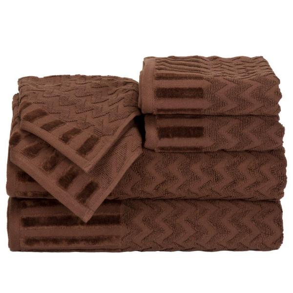 Lavish Home Chevron Egyptian Cotton Towel Set in Chocolate (6-Piece) 67-0020-C