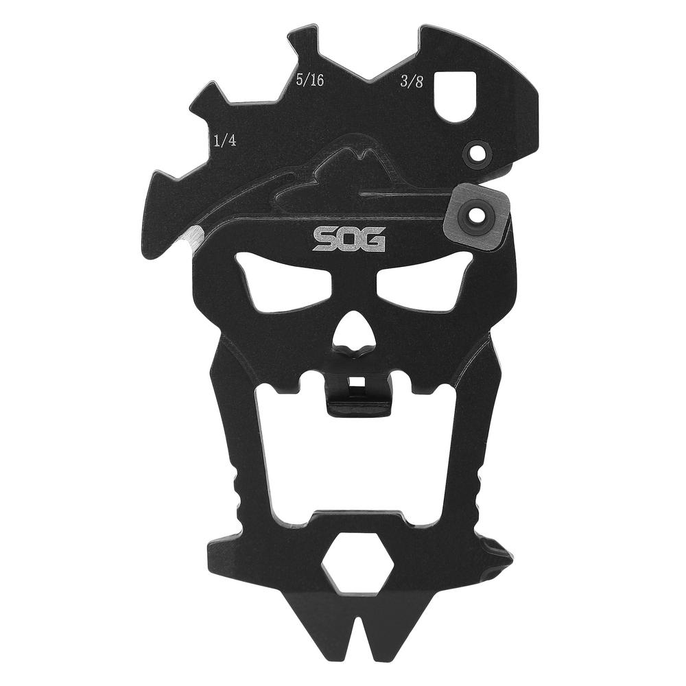 SOG MacV Multi-Tool Whether you need to open a bottle, tighten a screw, pry a staple out, or touch up a blade on the go, the MacV Tool has what you need. Designed to resemble the original skull from the MACV-SOG group of which our company is named after, the MacV Tool is a versatile everyday carry, keychain tool that will prove handy in many situations with 12 components. Made out of durable 3Cr13 stainless steel, the one-piece design with hardcased black coating will last many years. The number of uses for a convenient tool like this is endless, especially when you take it everywhere you go as it also complies with TSA regulations. Components include pry bar, bottle opener, small flathead driver, large flathead driver, small Phillips driver, line cutter, blade sharpener, 1/4 in. wrench, 5/16 in. wrench, 3/8 in. wrench, 1/4 in. hex bit driver, and lanyard/keychain hole.