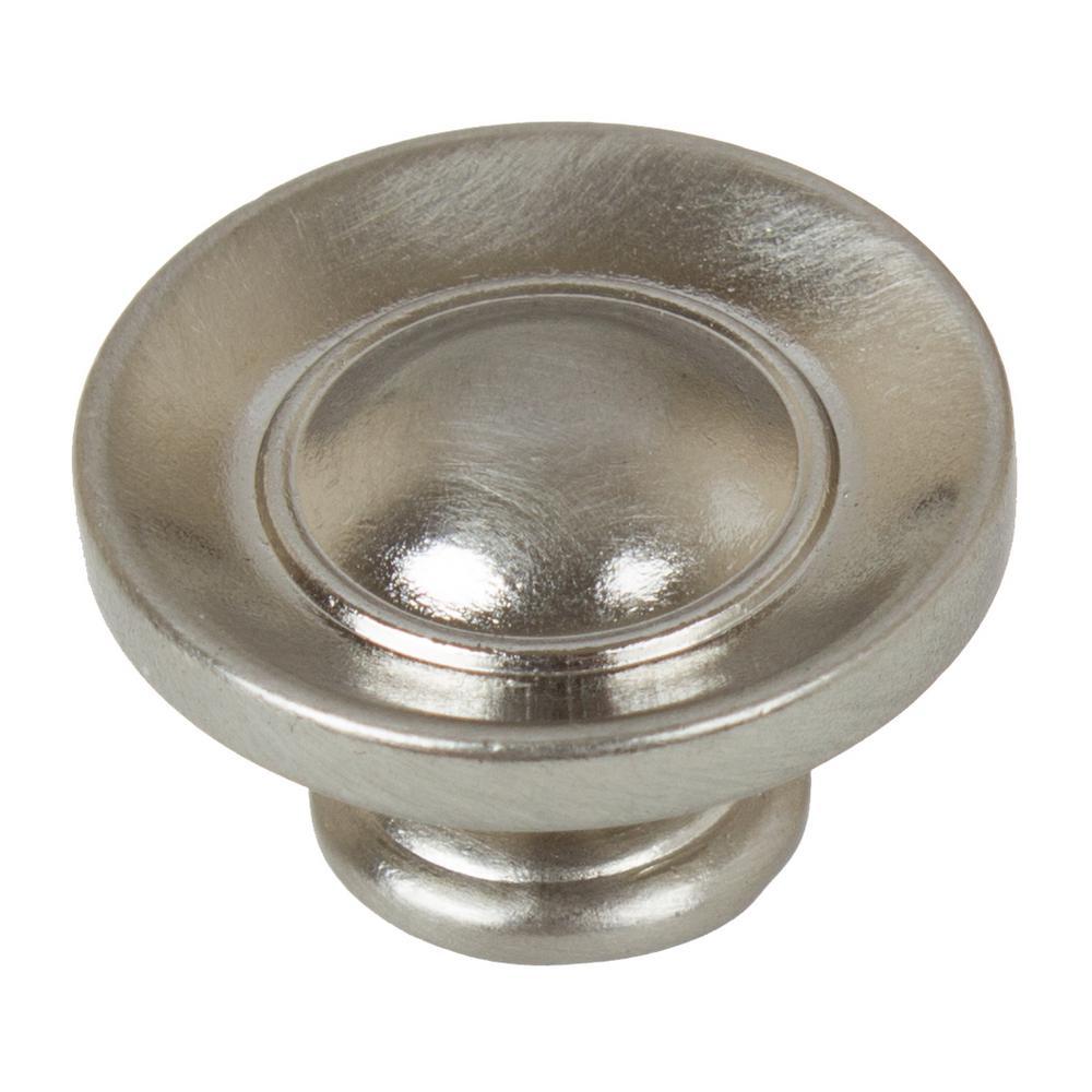 1 in. Dia Satin Nickel Small Round Ring Button Cabinet Knob