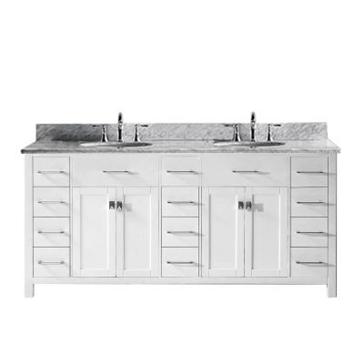 Caroline Parkway 72 in. W Bath Vanity in White with Marble Vanity Top in White with Round Basin