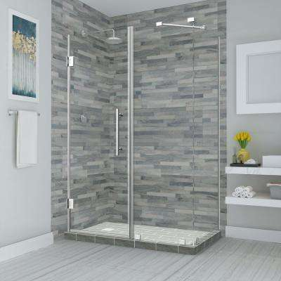Bromley 35.25 in. to 36.25 in. x 38.375 in. x 72 in. Frameless Corner Hinged Shower Enclosure in Chrome