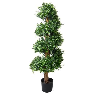 Indoor/Outdoor Artificial Boxwood Topiary Tree - 48 in. Potted Spiral Garden Bush