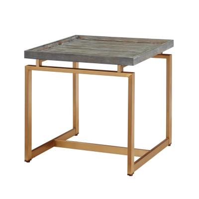 20 in. Square End Table with Pine Veneer Gray Top and  Gold Metal Stand