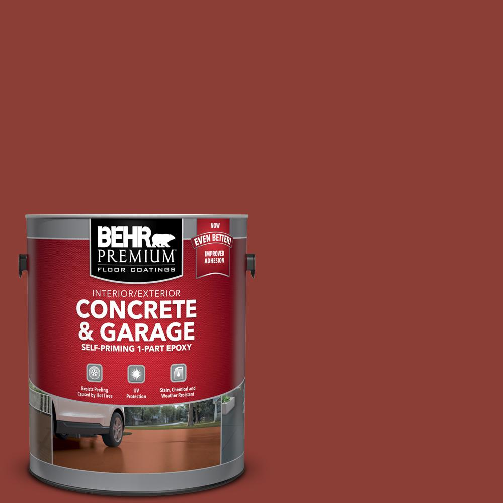 BEHR Premium 1 gal. #PFC-10 Deep Terra Cotta Self-Priming 1-Part Epoxy Satin Interior/Exterior Concrete and Garage Floor Paint
