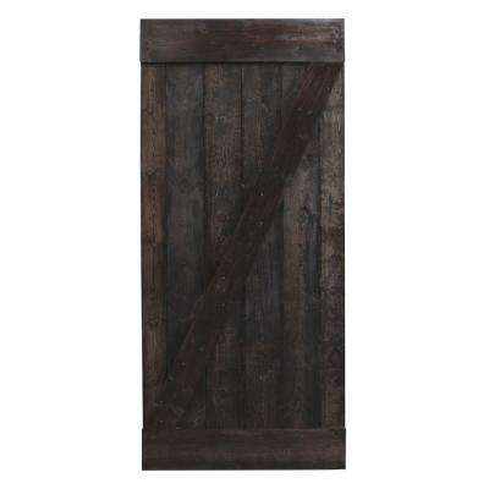 36 in. x 84 in. Dark Walnut Plank Knotty Pine Sliding Barn Wood Interior Door Slab